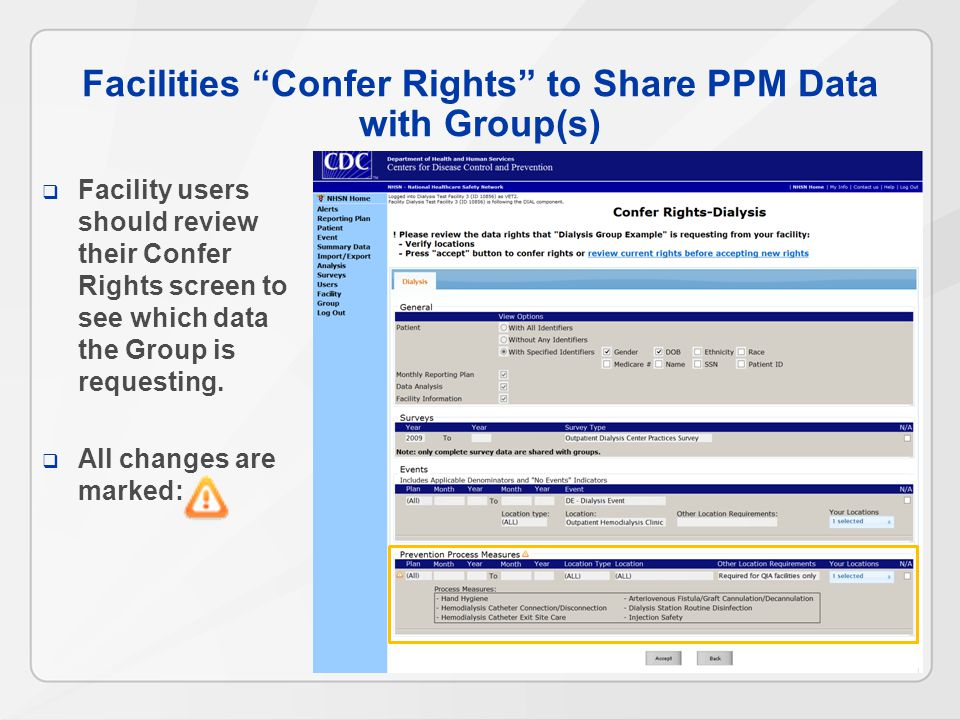 Facilities Confer Rights to Share PPM Data with Group(s)  Facility users should review their Confer Rights screen to see which data the Group is requesting.