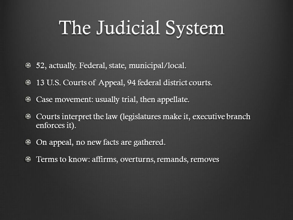 The Judicial System 52, actually. Federal, state, municipal/local.