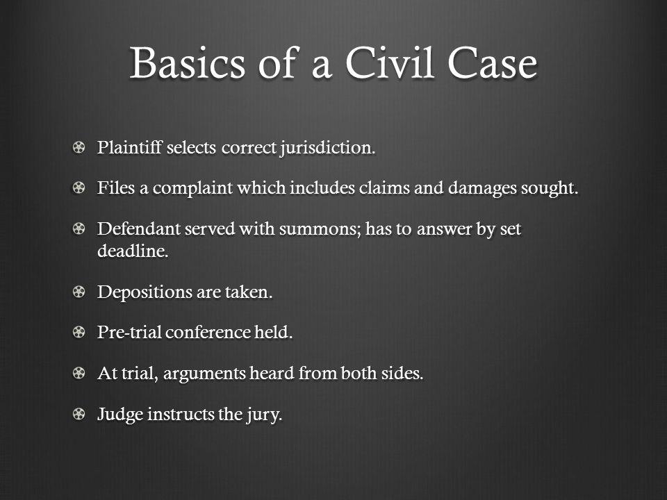 Basics of a Civil Case Plaintiff selects correct jurisdiction.
