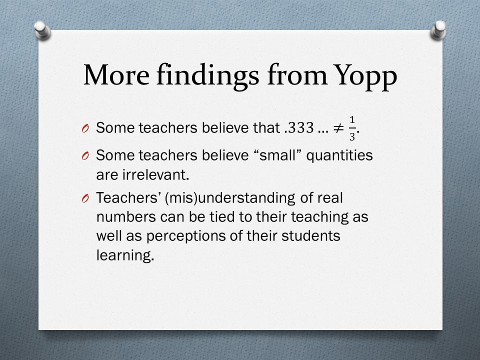 More findings from Yopp