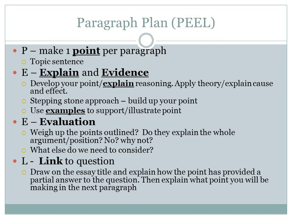 Paragraph Plan (PEEL) P – make 1 point per paragraph  Topic sentence E – Explain and Evidence  Develop your point/explain reasoning.
