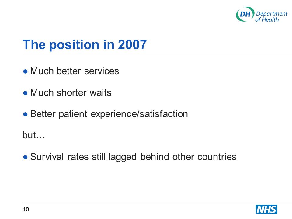 The position in 2007 ●Much better services ●Much shorter waits ●Better patient experience/satisfaction but… ●Survival rates still lagged behind other countries 10