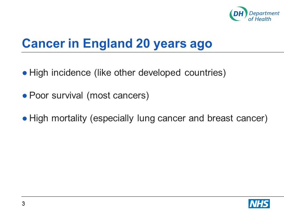 Cancer in England 20 years ago ●High incidence (like other developed countries) ●Poor survival (most cancers) ●High mortality (especially lung cancer and breast cancer) 3