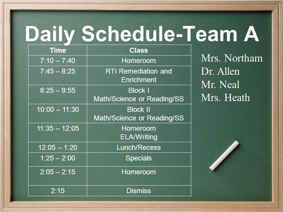 Daily Schedule-Team A TimeClass 7:10 – 7:40Homeroom 7:45 – 8:25RTI Remediation and Enrichment 8:25 – 9:55Block I Math/Science or Reading/SS 10:00 – 11