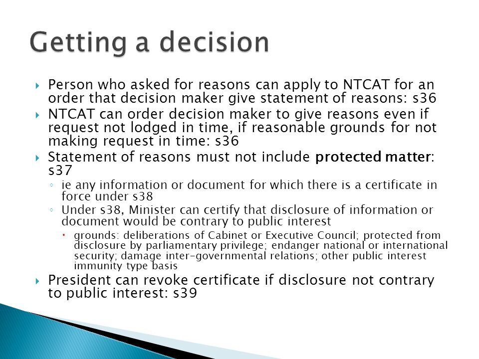  Decision maker (making a reviewable decision) must give written notice of decision and right of review by NTCAT to each person (as conferred by rele
