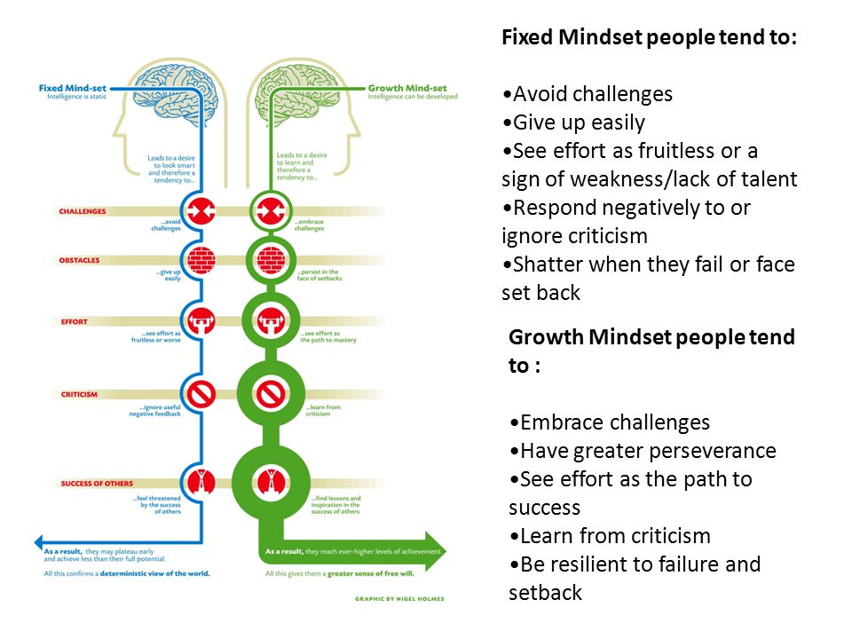 Growth Mindset people tend to : Embrace challenges Have greater perseverance See effort as the path to success Learn from criticism Be resilient to failure and setback Fixed Mindset people tend to: Avoid challenges Give up easily See effort as fruitless or a sign of weakness/lack of talent Respond negatively to or ignore criticism Shatter when they fail or face set back