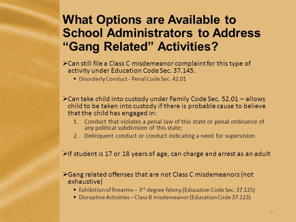 What Options are Available to School Administrators to Address Gang Related Activities.