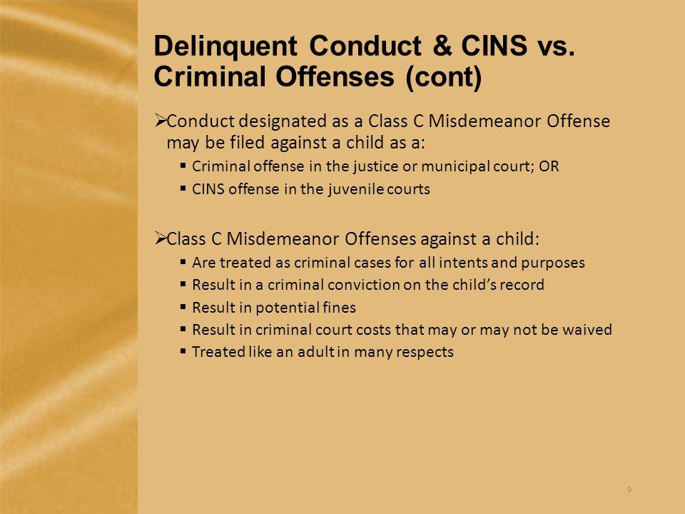Delinquent Conduct & CINS vs.