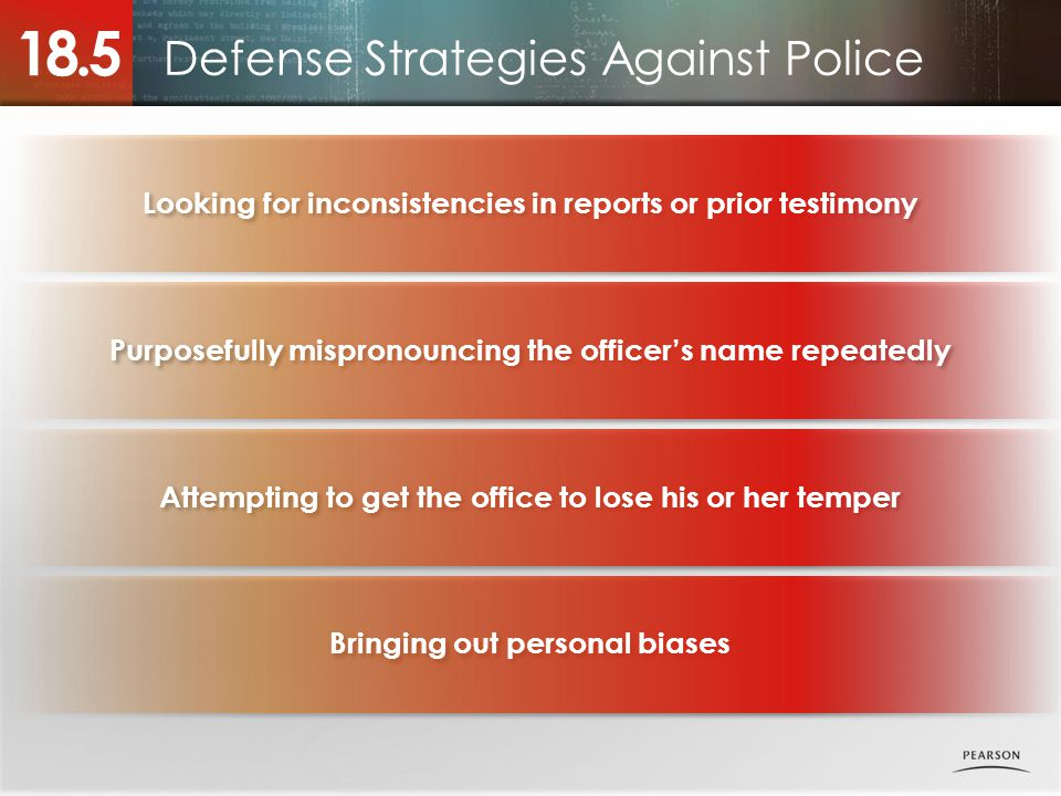 Defense Strategies Against Police 18.5 Looking for inconsistencies in reports or prior testimony Purposefully mispronouncing the officer's name repeatedly Attempting to get the office to lose his or her temper Bringing out personal biases