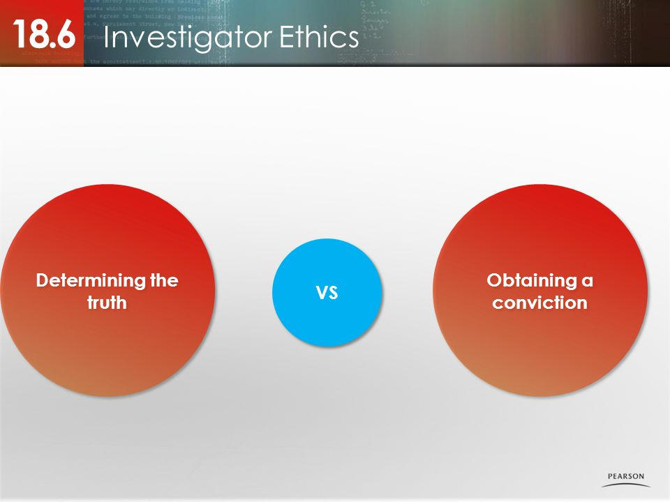 Determining the truth Investigator Ethics 18.6 Obtaining a conviction VS