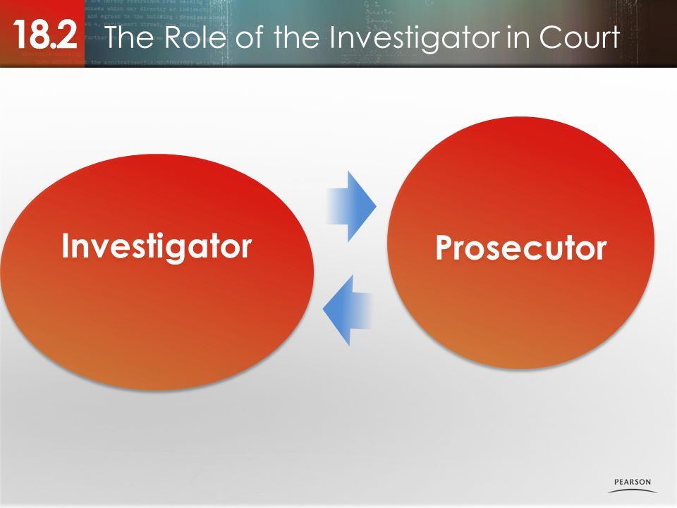 The Role of the Investigator in Court 18.2 Prosecutor Investigator