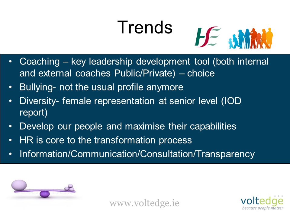 www.voltedge.ie Trends Coaching – key leadership development tool (both internal and external coaches Public/Private) – choice Bullying- not the usual profile anymore Diversity- female representation at senior level (IOD report) Develop our people and maximise their capabilities HR is core to the transformation process Information/Communication/Consultation/Transparency