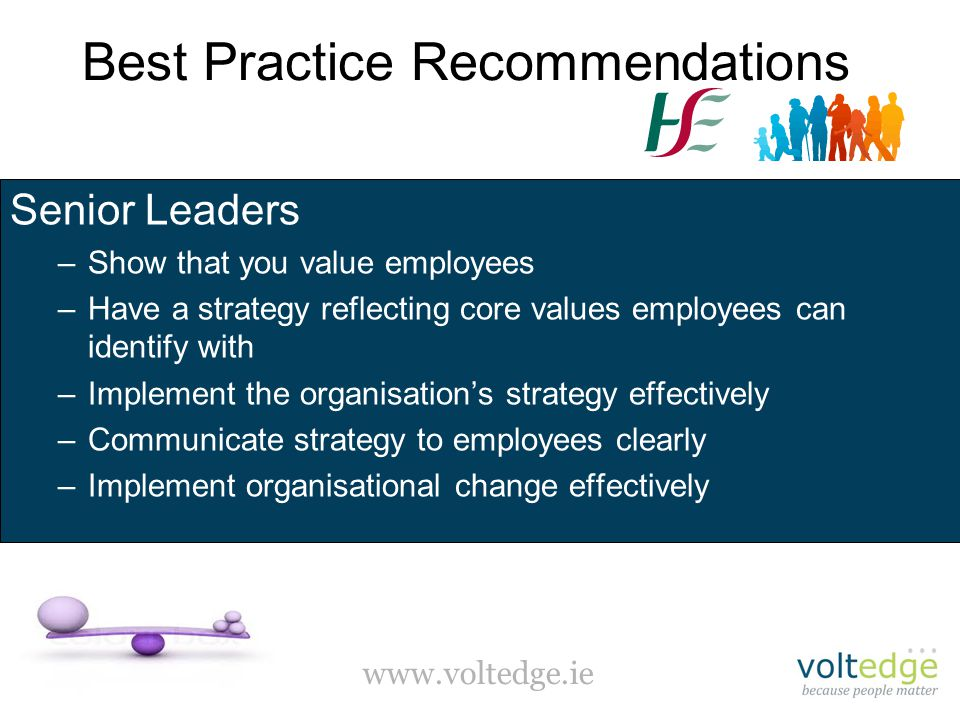 www.voltedge.ie Best Practice Recommendations Senior Leaders –Show that you value employees –Have a strategy reflecting core values employees can identify with –Implement the organisation's strategy effectively –Communicate strategy to employees clearly –Implement organisational change effectively