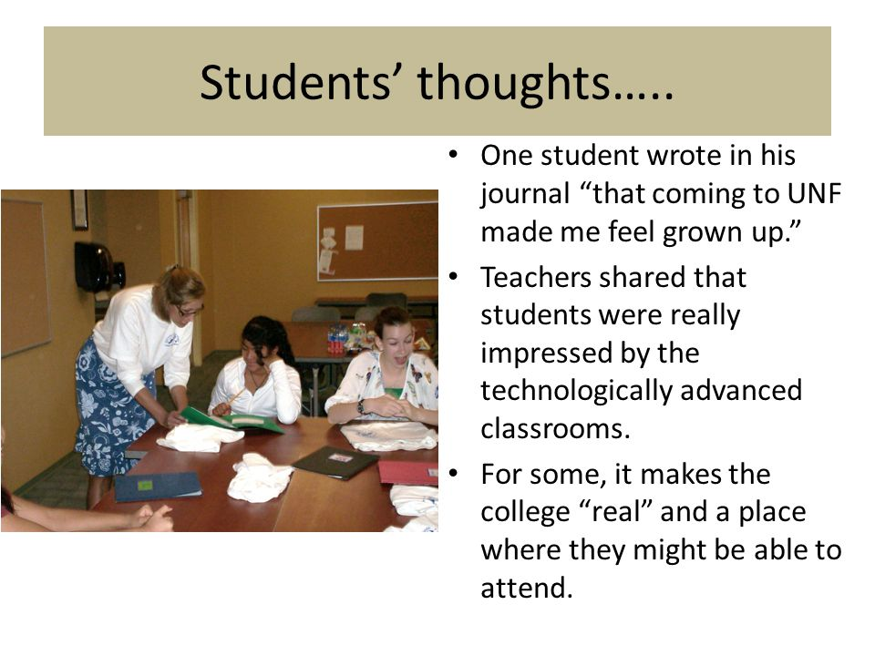 Students' thoughts…..