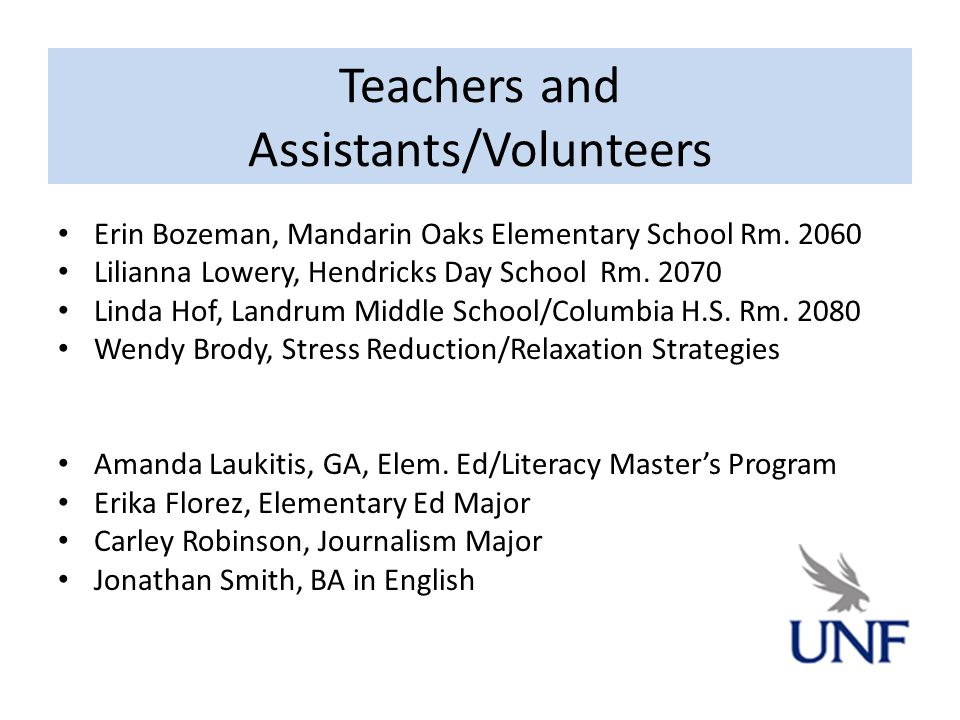 Teachers and Assistants/Volunteers Erin Bozeman, Mandarin Oaks Elementary School Rm.