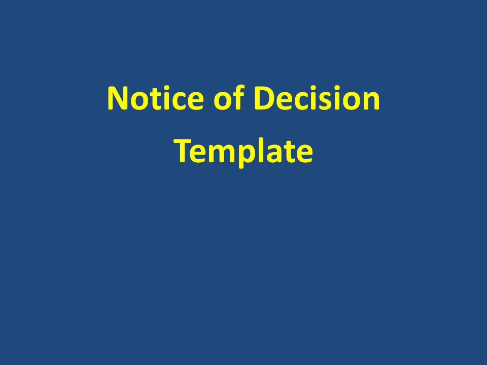 Notice of Decision Template