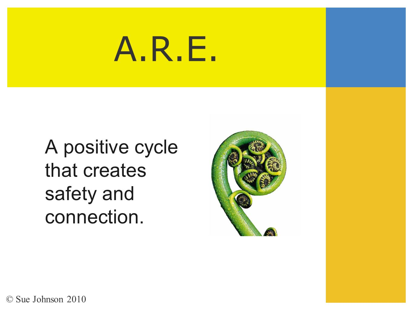 A.R.E. A positive cycle that creates safety and connection. © Sue Johnson 2010