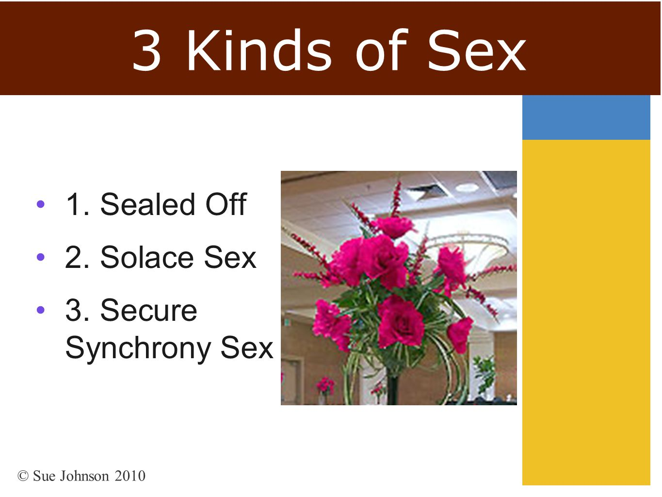 3 Kinds of Sex 1. Sealed Off 2. Solace Sex 3. Secure Synchrony Sex © Sue Johnson 2010