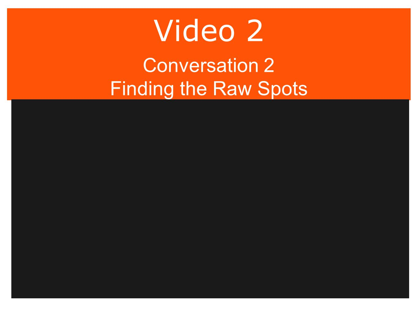Video 2 Conversation 2 Finding the Raw Spots