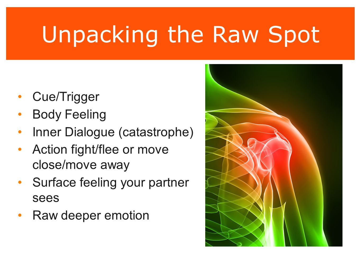 Unpacking the Raw Spot Cue/Trigger Body Feeling Inner Dialogue (catastrophe) Action fight/flee or move close/move away Surface feeling your partner se