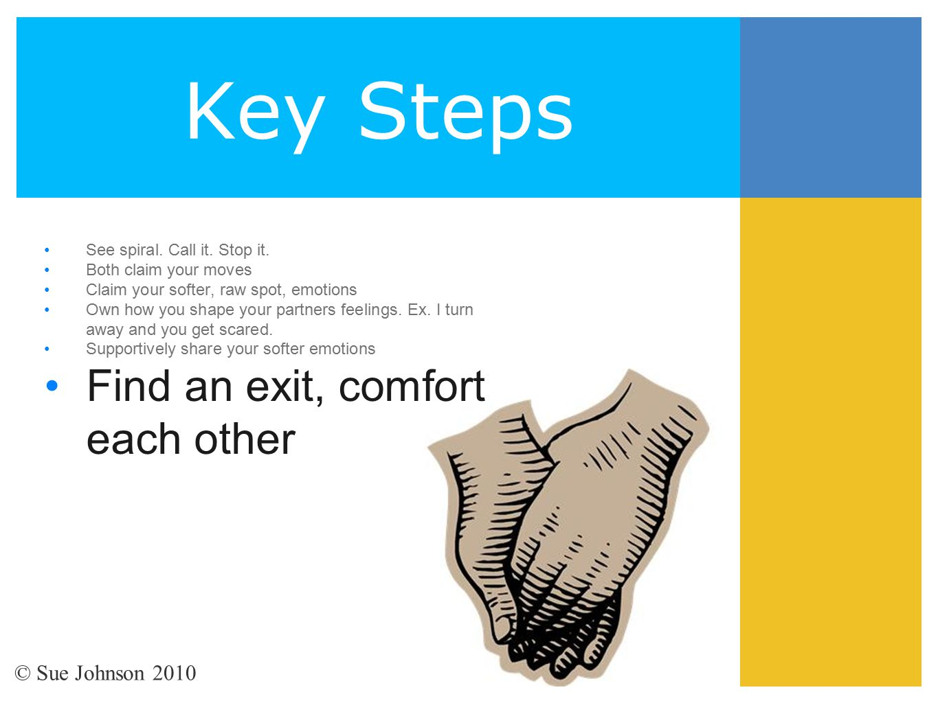 Key Steps See spiral. Call it. Stop it. Both claim your moves Claim your softer, raw spot, emotions Own how you shape your partners feelings. Ex. I tu