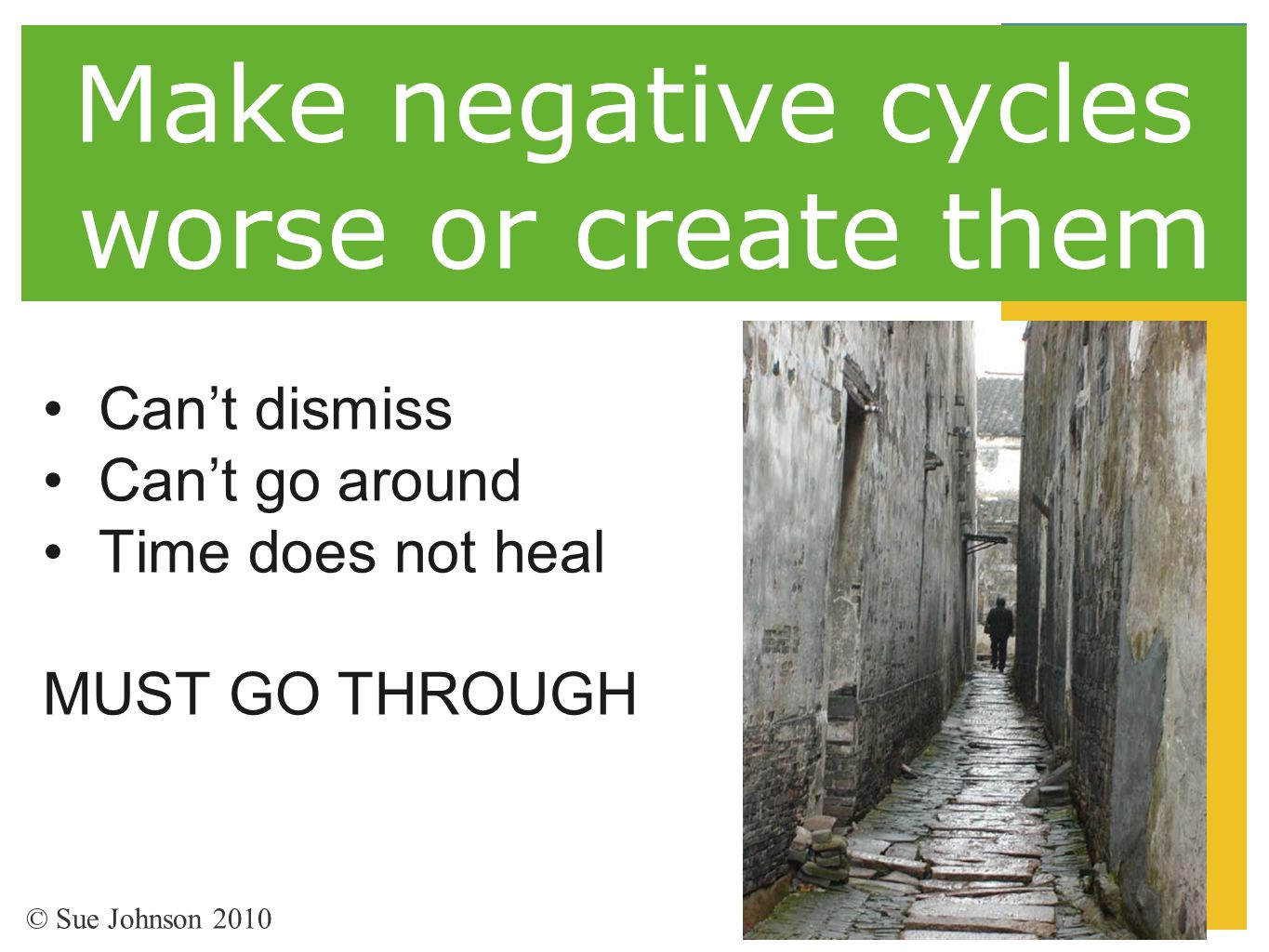 Make negative cycles worse or create them Can't dismiss Can't go around Time does not heal MUST GO THROUGH © Sue Johnson 2010