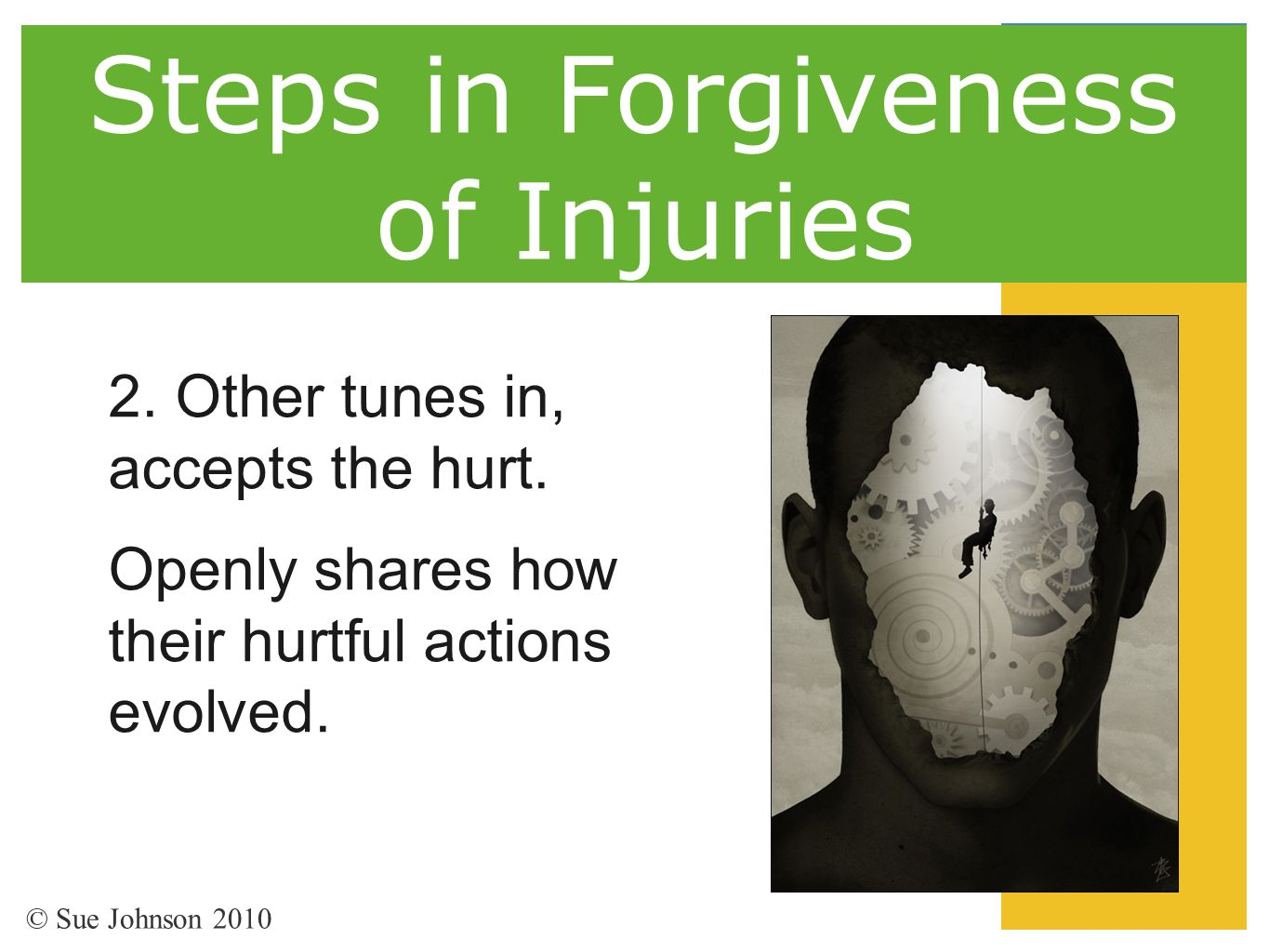 Steps in Forgiveness of Injuries 2. Other tunes in, accepts the hurt. Openly shares how their hurtful actions evolved. © Sue Johnson 2010