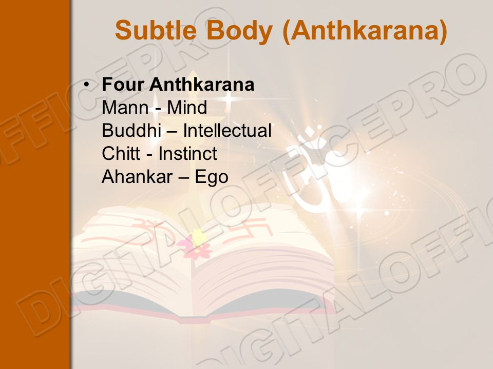 Subtle Body (Anthkarana) Four Anthkarana Mann - Mind Buddhi – Intellectual Chitt - Instinct Ahankar – Ego
