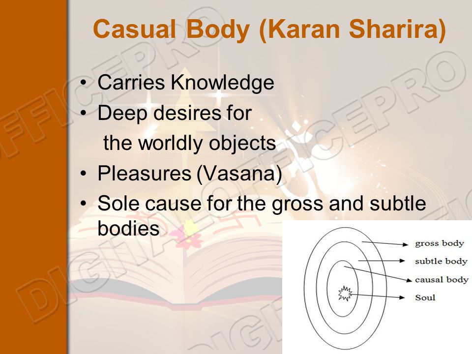 Casual Body (Karan Sharira) Carries Knowledge Deep desires for the worldly objects Pleasures (Vasana) Sole cause for the gross and subtle bodies