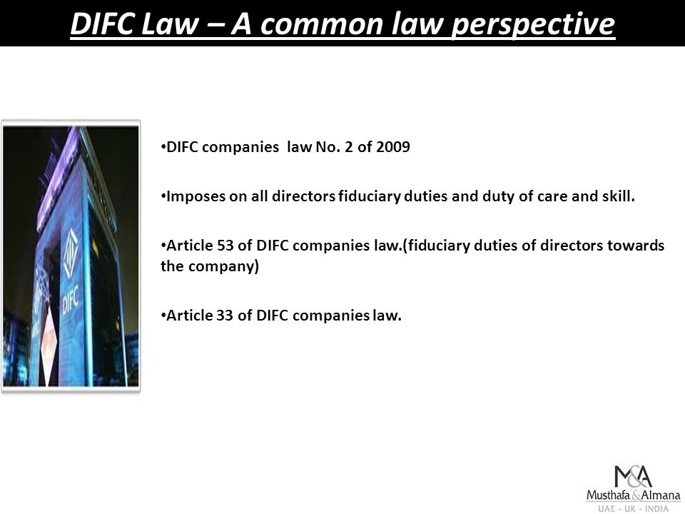 DIFC Law – A common law perspective DIFC companies law No.