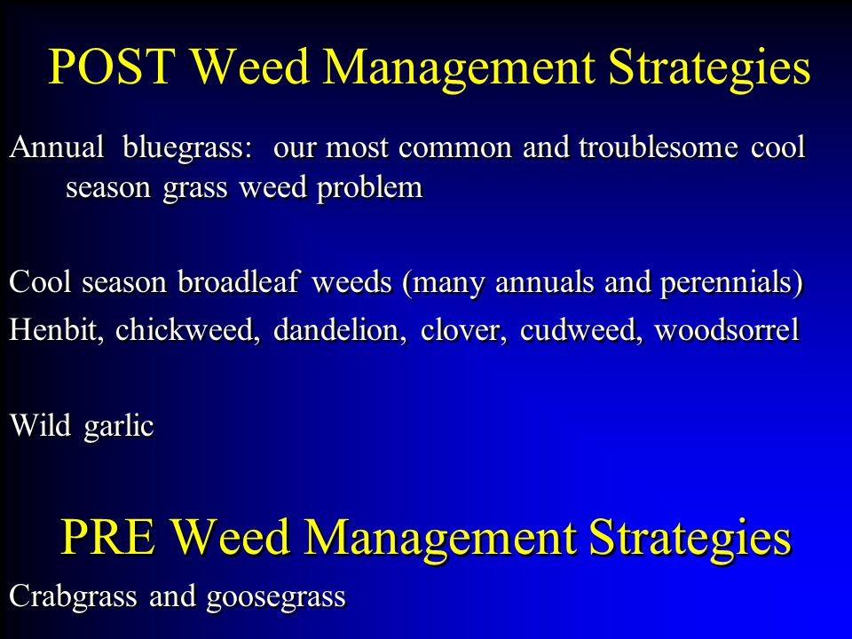 POST Weed Management Strategies Annual bluegrass: our most common and troublesome cool season grass weed problem Cool season broadleaf weeds (many annuals and perennials) Henbit, chickweed, dandelion, clover, cudweed, woodsorrel Wild garlic PRE Weed Management Strategies Crabgrass and goosegrass Annual bluegrass: our most common and troublesome cool season grass weed problem Cool season broadleaf weeds (many annuals and perennials) Henbit, chickweed, dandelion, clover, cudweed, woodsorrel Wild garlic PRE Weed Management Strategies Crabgrass and goosegrass