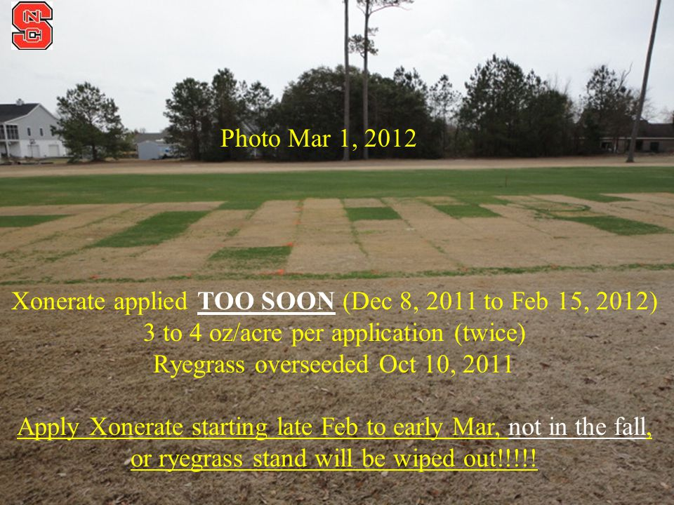 Photo Mar 1, 2012 Xonerate applied TOO SOON (Dec 8, 2011 to Feb 15, 2012) 3 to 4 oz/acre per application (twice) Ryegrass overseeded Oct 10, 2011 Apply Xonerate starting late Feb to early Mar, not in the fall, or ryegrass stand will be wiped out!!!!!