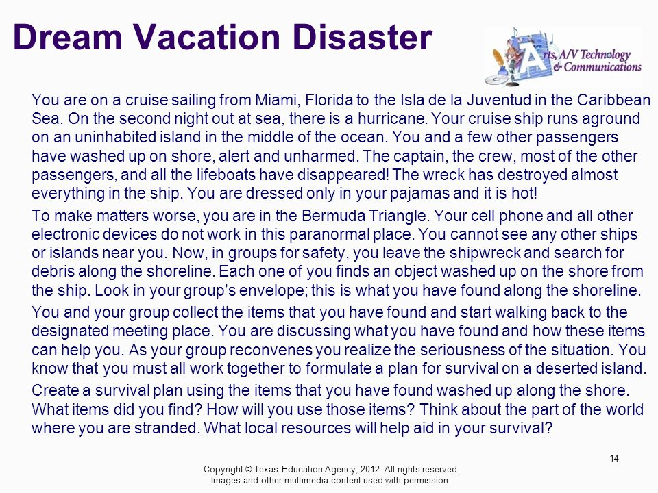 Dream Vacation Disaster You are on a cruise sailing from Miami, Florida to the Isla de la Juventud in the Caribbean Sea.