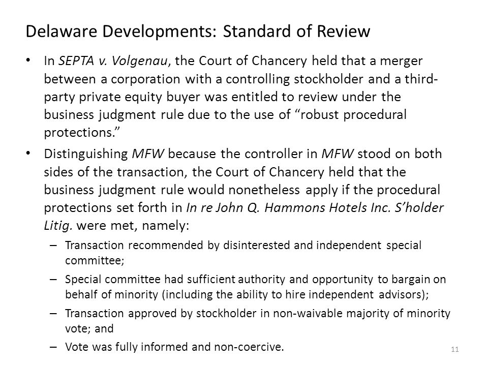 Delaware Developments: Standard of Review In SEPTA v.