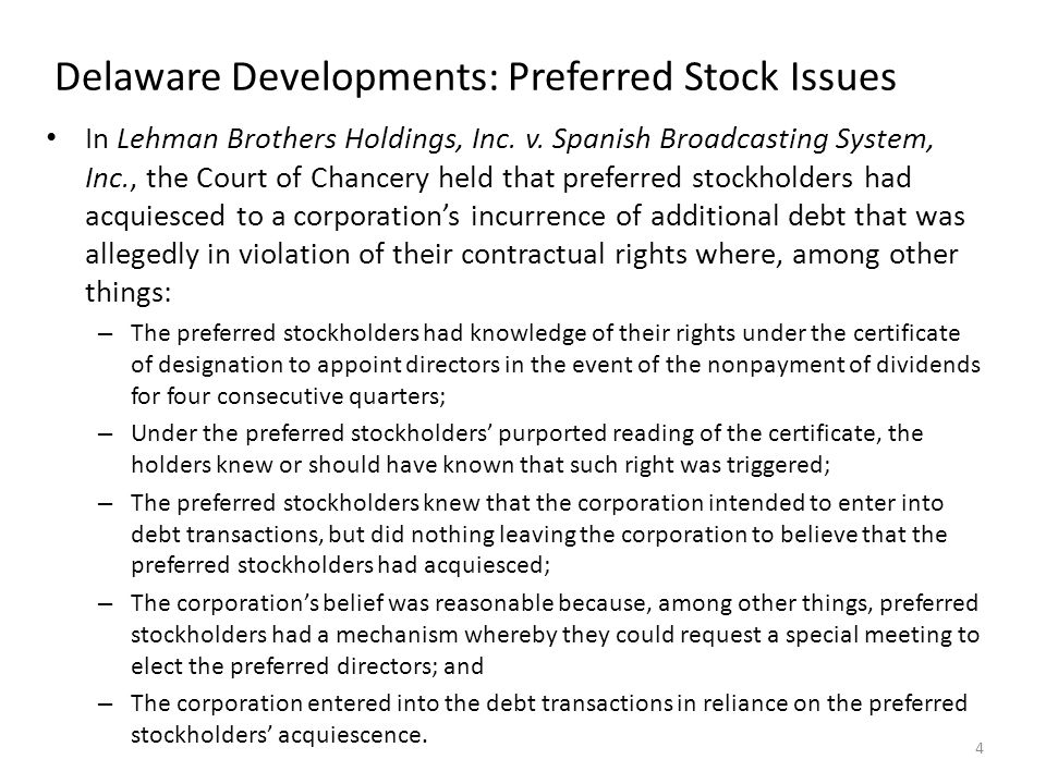Delaware Developments: Preferred Stock Issues In Lehman Brothers Holdings, Inc.