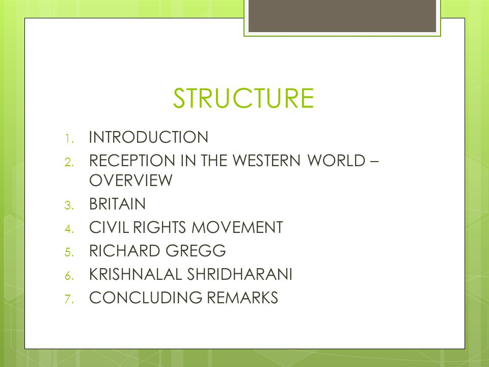 STRUCTURE 1. INTRODUCTION 2. RECEPTION IN THE WESTERN WORLD – OVERVIEW 3.