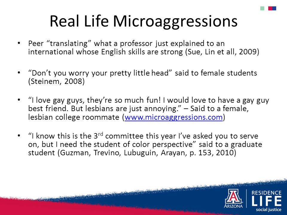 "Real Life Microaggressions Peer ""translating"" what a professor just explained to an international whose English skills are strong (Sue, Lin et all, 20"