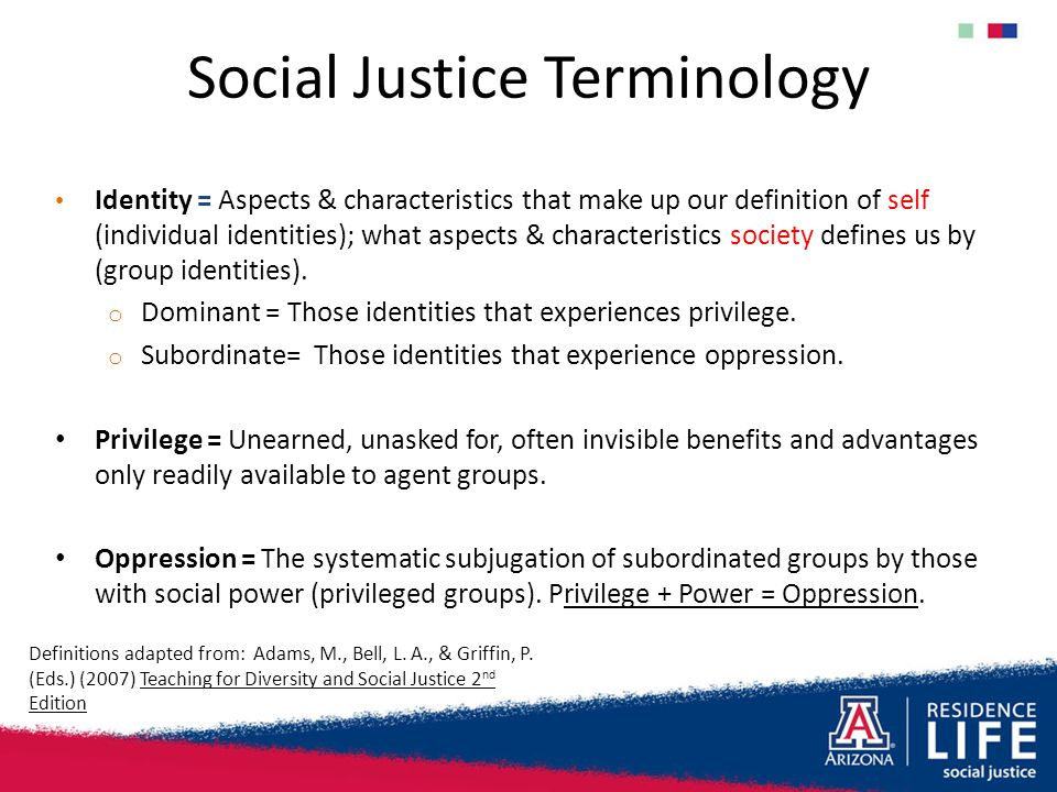 Social Justice Terminology Identity = Aspects & characteristics that make up our definition of self (individual identities); what aspects & characteri