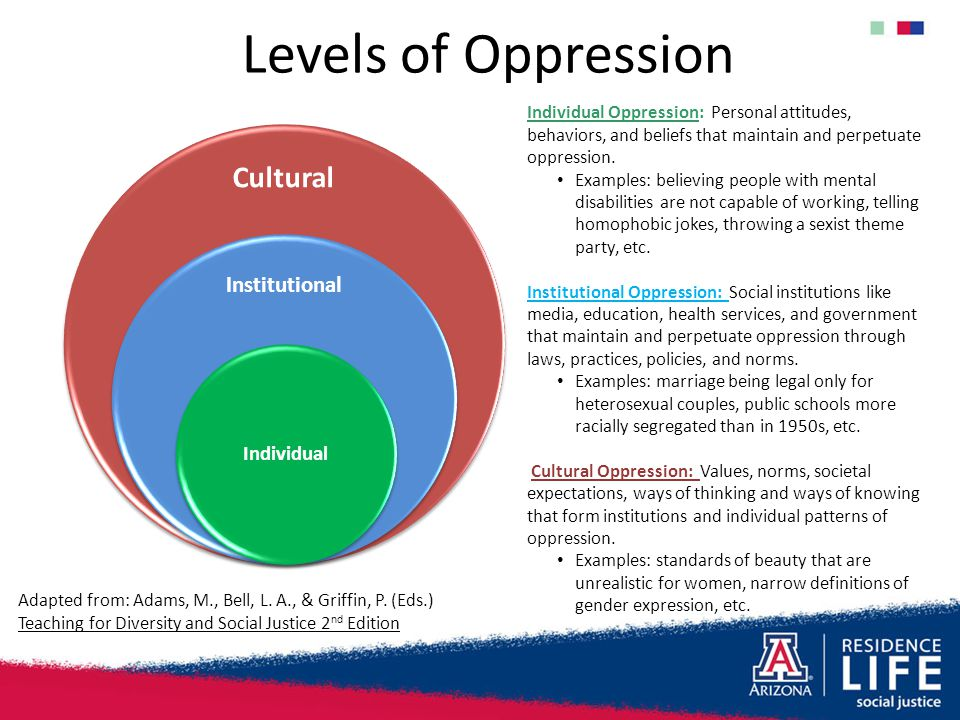 Levels of Oppression Cultural Institutional Individual Individual Oppression: Personal attitudes, behaviors, and beliefs that maintain and perpetuate