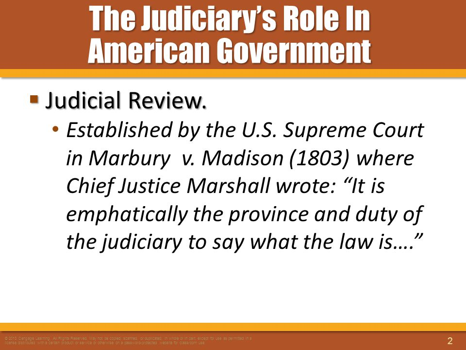 The Judiciary's Role In American Government  Judicial Review. Established by the U.S. Supreme Court in Marbury v. Madison (1803) where Chief Justice