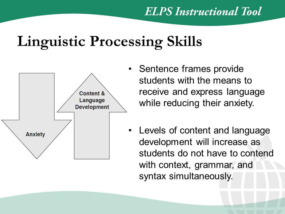 Sentence frames provide students with the means to receive and express language while reducing their anxiety.