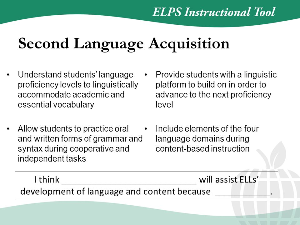 Understand students' language proficiency levels to linguistically accommodate academic and essential vocabulary Allow students to practice oral and written forms of grammar and syntax during cooperative and independent tasks Provide students with a linguistic platform to build on in order to advance to the next proficiency level Include elements of the four language domains during content-based instruction Second Language Acquisition I think ___________________________ will assist ELLs' development of language and content because ___________.