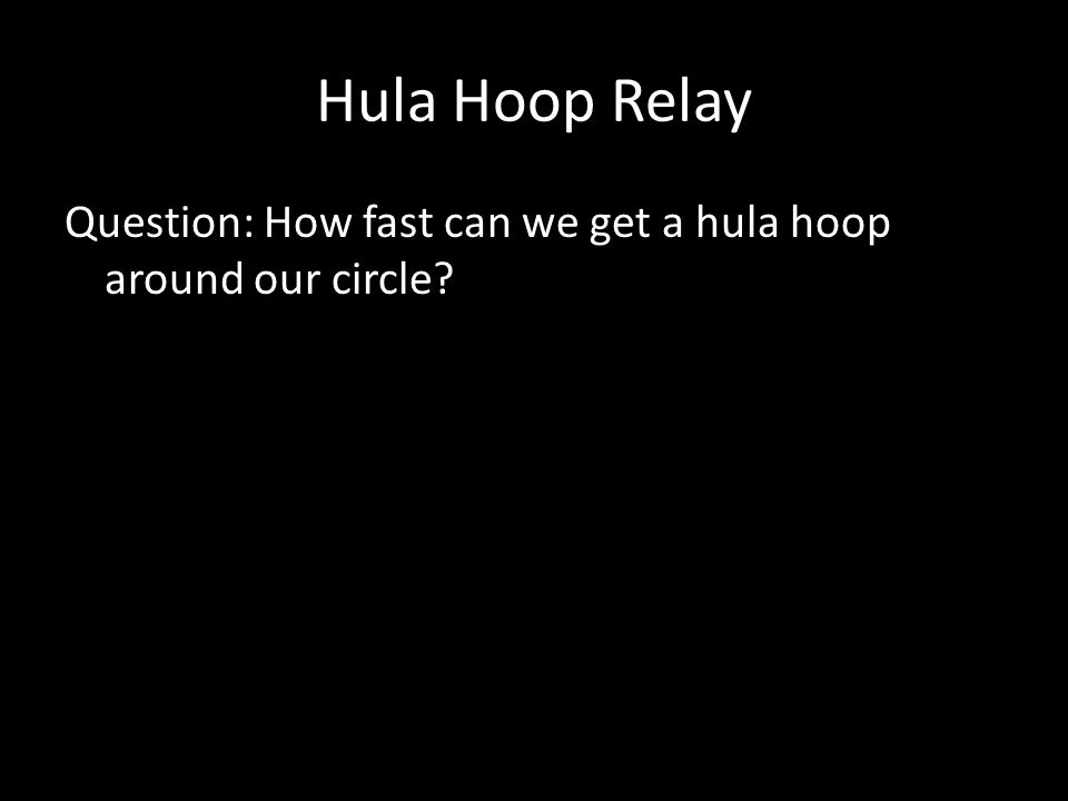 Hula Hoop Relay Question: How fast can we get a hula hoop around our circle