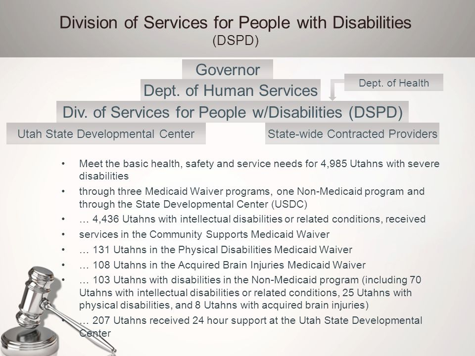 Division of Services for People with Disabilities (DSPD) Meet the basic health, safety and service needs for 4,985 Utahns with severe disabilities thr