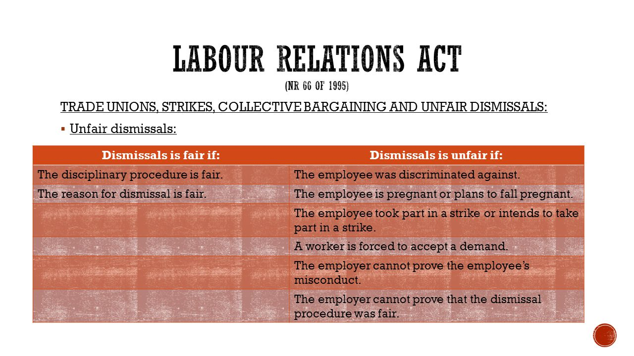TRADE UNIONS, STRIKES, COLLECTIVE BARGAINING AND UNFAIR DISMISSALS:  Unfair dismissals: Dismissals is fair if:Dismissals is unfair if: The disciplina