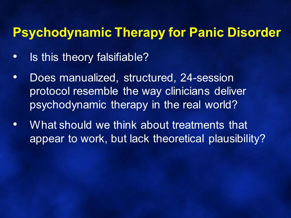 Psychodynamic Therapy for Panic Disorder Is this theory falsifiable.