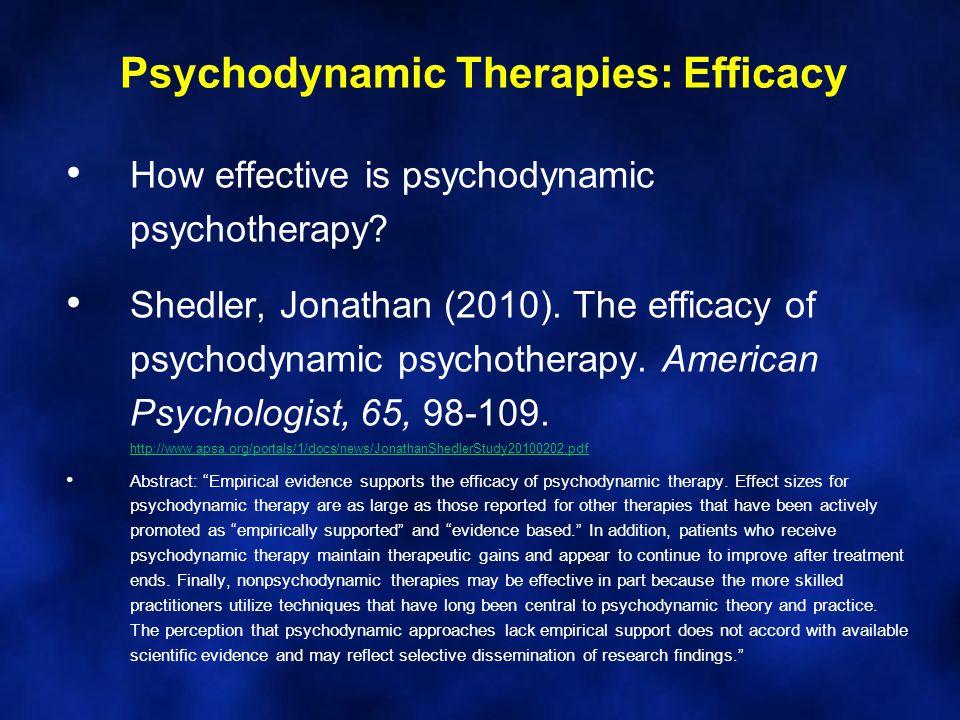 Psychodynamic Therapies: Efficacy How effective is psychodynamic psychotherapy.