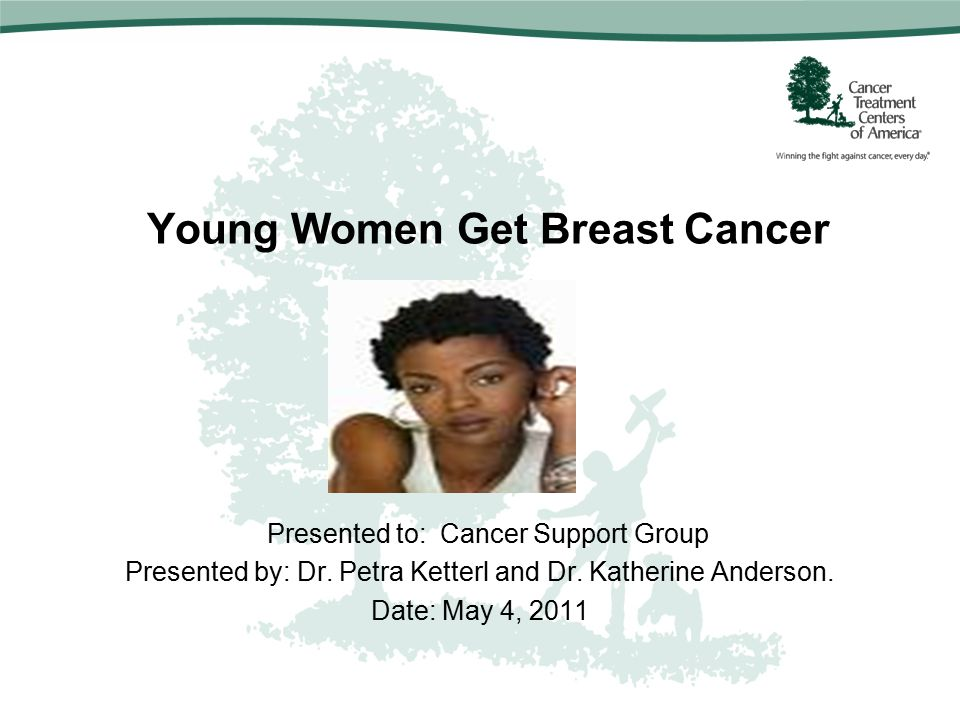 Young Women Get Breast Cancer Presented to: Cancer Support Group Presented by: Dr.