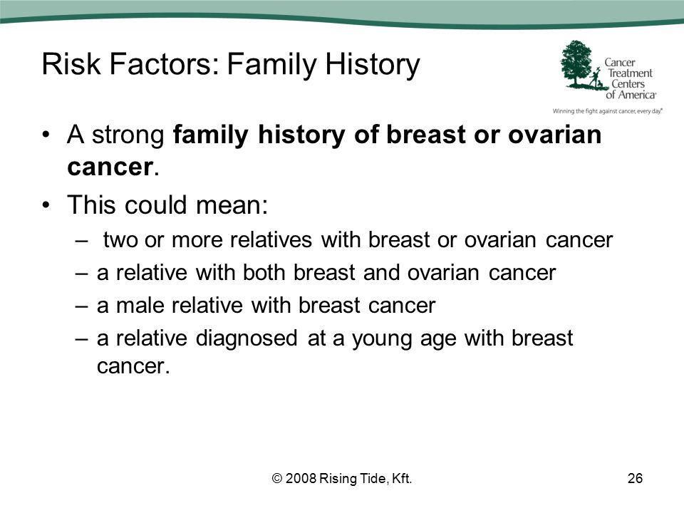 Risk Factors: Family History A strong family history of breast or ovarian cancer.