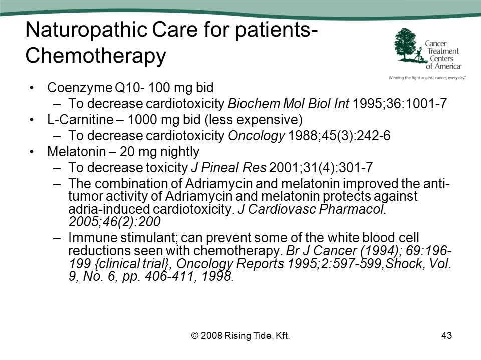 Naturopathic Care for patients- Chemotherapy Coenzyme Q10- 100 mg bid –To decrease cardiotoxicity Biochem Mol Biol Int 1995;36:1001-7 L-Carnitine – 1000 mg bid (less expensive) –To decrease cardiotoxicity Oncology 1988;45(3):242-6 Melatonin – 20 mg nightly –To decrease toxicity J Pineal Res 2001;31(4):301-7 –The combination of Adriamycin and melatonin improved the anti- tumor activity of Adriamycin and melatonin protects against adria-induced cardiotoxicity.